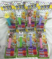 Lot of 8 Happy Easter Pez Candy Dispenser - 2014 Sheep Rabbit Duck
