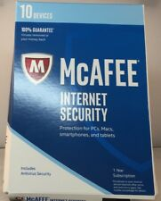 NEW McAfee Internet Security 2019 10 Devices 1 Year Key Card only USPS or Email