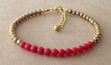 Golden Plated, Friendship Bracelet Red Coral+Golden Hematite Beaded,
