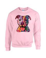 Pastel Patchwork Pitbull Dog Crewneck Sweatshirt