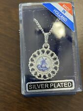 New listing Rare VTG Holland Silver Plated Delft Blue Porcelain Windmill PEND Necklace NIB