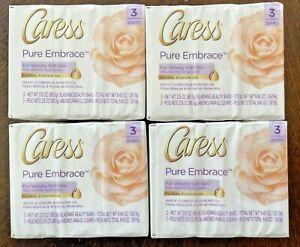 Caress Pure Embrace Bar Soap LOT 12 BARS White Flowers Almond Oil Floral Fusion