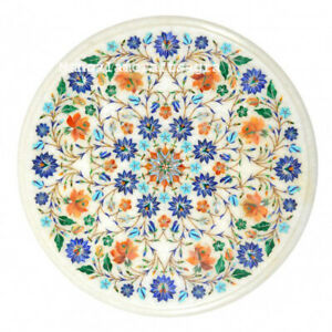 "18"" Round Marble Table Top semi precious stones inlay Handmade Home Decor"