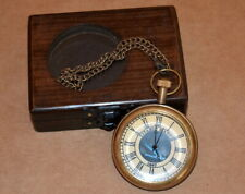 Vintage antique maritime brass pocket watch titanic ship dial with wooden box