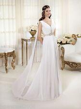 Custom Made Deep V-Neck Pleat White Sheath Long Bridal Gown Wedding Dress