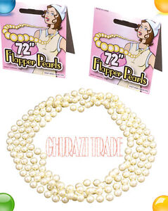 """LADIES 72"""" FLAPPER PEARLS BEADS ADULT NECKLACE 20S GATSBY FANCY DRESS ACCESSORY"""