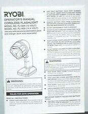 Genuine Ryobi Cordless Flashlight Operator's Manual Only Model # FL1200 FL1400