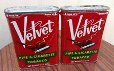 Vintage Velvet Pipe & Cigarette Tobacco Empty Metal Container pair 金属 盒
