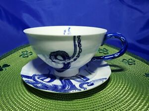 Anthropologie Octopus Ship Cup Saucer Set From the Deep Nautical Tea Coffee