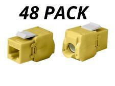 48x Keystone Jack Cat6A RJ45 Ethernet Network Module Toolfree 180 Degree Yellow