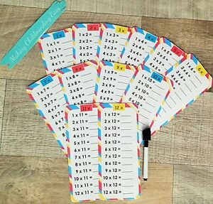 TIMES TABLES PRACTICE,REVISION CARDS 1-12 reuseable,childminder teacher resource