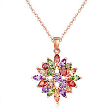 Mona Lisa Natural Garnet Peridot Morganite Rose Gold Plated Necklace Pendants