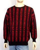 vtg 80s La Squadra Monte Carlo Red Black Geometric Wool Sweater made in Italy XL