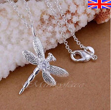 """Silver 925 Sterling Necklace Crystal Dragonfly Pendant 18"""" Free Gift Bag"""