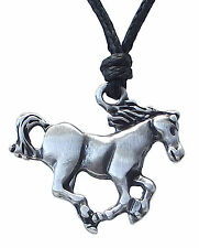 Pewter HORSE Pendant on Adjustable Black Cord Necklace Nickel Free 23mm drop