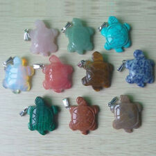 Fashion natural stone carved mixed turtle charm pendant 10pcs/lot wholesale