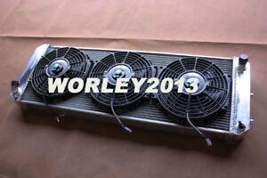 3 rows aluminum radiator + fan for LOTUS Esprit S4 SE S4s V8 GT GT3 1988-2004 mt