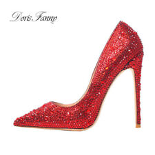 Stiletto Shoes Woman Red Crystals Woman Wedding Shoes Bride  High Heels
