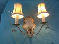 Wandlampe Doppelt Antik Florenz Floral Wandleuchte um 1950 Eisen Jugendstil 10c6