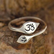 Sterling Silver .925 Lotus and Ohm Om Adjustable Knuckle or Finger Yoga Ring