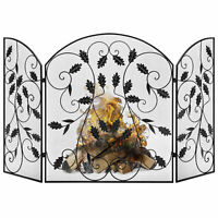 BCP 3-Panel 50x30in Steel Fireplace Screen w/ Rustic Finish, Leaf Decals