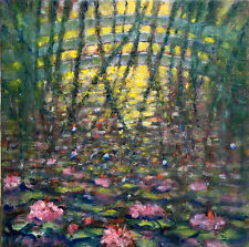 Water Lilies Giverny France 12x12 in. Oil on stretched canvas Hall Groat Sr.