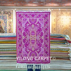 Yilong 2'x3' Purple Handmade Silk Rugs Tribal Hand Knotted Classic Carpet 233A