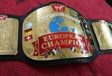 WWF EUROPEAN TITLE SCRATCH LOGO REPLICA BELT MADE IN 4MM BRASS PLATES!!