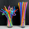 100pc Colourful Flexible Straws Disposable Drinking Straw Plastic Party Straws