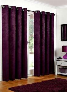 Luxury Aubergine Embossed Thermal Blackout Eyelet Ring Top Lined Pair Curtains