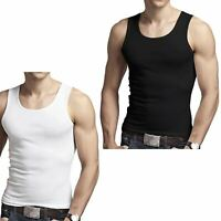 3 X MENS VEST 100% COTTON GYM TRAINING TANK TOPS MUSCLE SUMMER ATHLETIC T-SHIRTS