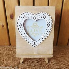 Natural Washed White Wooden Love Heart Photo Frame on Easel Stand Home Wedding