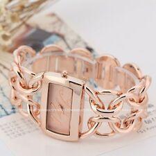AOYI Ladies Women Square Case Rose Golden Dial Bracelet Quartz Wrist Watch Gift