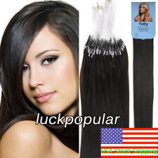 "Brazilian Remy Human Hair Loop Ring Micro Beads Extensions Natural Black 18""100S"