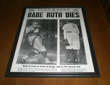 1948 YANKEES BABE RUTH DIES FRAMED 11x14 NEWSPAPER PRINT