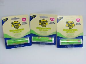 Banana Boat Sunscreen Lip Balm Aloe Vera With Vitamin E SPF 45 0.15 oz (3 pack)