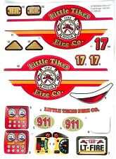 LITTLE TIKES Cozy Coupe Ride & Rescue Fire Truck Replacement Decal Stickers >NEW