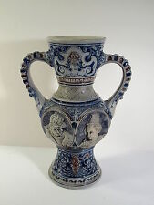 MUSTERSCHUTZ GERMANY COBALT SALT GLAZED 2 HANDLED LOVING CUP - ROYAL PORTRAITS