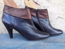 ALFANI LEATHER SHORT ANKLE SHOE-BOOTS  HIGH HEEL BOOTIES DARCY BROWN 8.5M