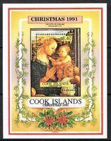 Jimace29  Cook Islands #1054 Christmas 1991 Madonna & Child Souv. Sht $6.40, MNH