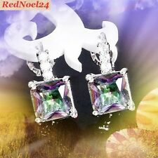 Endearingly Beautiful, Chic Mystic Topaz Dangle 925 Silver Stamped Earrings