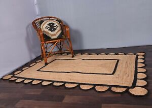 natural colour with black scalloped border rug home decor rug indoor-outdoor rug