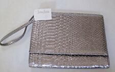 Neiman Marcus Evening Bag Handbag Clutch Faux Alligator /Crocodile Silver w TAGS
