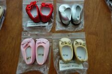 """Lot 4 Pair Dress Shoes Slippers Red Pink Silver American Girl 18"""" Dolls NEW RARE"""