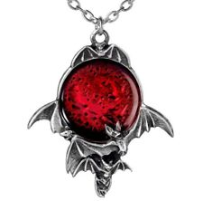 Blood Red Moon Pendant Skein of Flying Bats Alchemy Gothic P447 Pewter Necklace