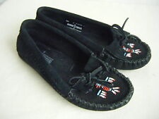 MINNETONKA Pre-Owned Black Suede Beaded Fringes Moccasin Shoes size 5