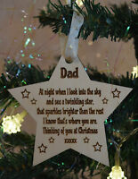 Wooden Personalised Memory Star Christmas Tree Gift Memorial Decoration Bauble