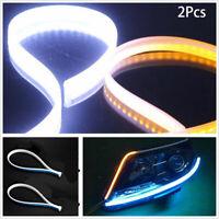 2x 45cm Flexible Soft Tube Car LED Amber Strip DRL Daytime Running Turn Light
