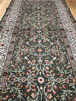 Vintage Turkish Rug Runner 6'6''x2'8'' Oushak, Handmade, Oriental, Floral, Green