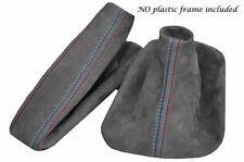 FITS BMW E30 PU SUEDE GREY GEAR SHIFT STICK & HANDBRAKE GAITER M STITCHING
